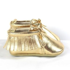Old Navy Gold Moccasins Size 6-12 Months